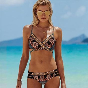 New Bohemian Prints Swimwear Bandage Retro Strap Hot Bikini Set Women Boho Swimsuit Vintage