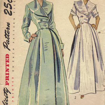 1940s Simplicity Sewing Pattern 2683 Housecoat Gown Dress Double Breast Bodice Dart Fitted Full Skirt Duster Hollywood Glamour Bust 34