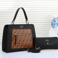 FENDI Fashionable Women Leather Handbag Crossbody Satchel Set Two-Piece