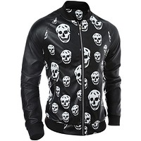 Men Automotive Leather Jackets Punk clothing Male Skull Motorcycle Jackets Pattern Spring Coat