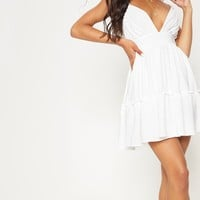 White Ruched Frill Detail Strappy Skater Dress