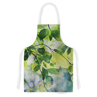 """Sylvia Cook """"Leaves"""" Teal Green Artistic Apron"""