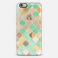 Mint Green, Gold & Wood Moroccan Pattern on Transparent iPhone 6 case by Micklyn Le Feuvre | Casetify