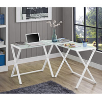X-frame Glass & Metal L-Shaped Computer Desk - White/White