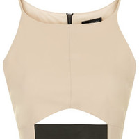 Elastic Cut-Out Crop Top - Nude