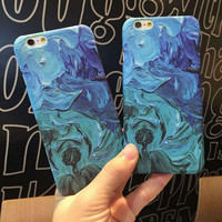 Watercolor painting art Phone Case Plastic PC hard back cover for iphone6s 6 6plus 6splus Ocean scenery free shipping