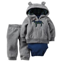 Carter's Plaid Animal Fleece Hooded Cardigan Set - Baby Boy, Size:
