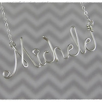 FREE SHIPPING!!!  Michele Wire Word Name Pendant Necklace