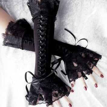Cities in Soot Corset Arm Warmers Laced Up - Black Ribbon & Ruffled Lace - Steampunk Gloves Victorian Bridal Pirate Dark Rococo Gothic Goth