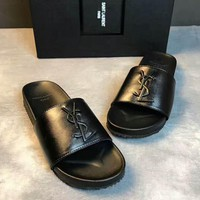 YSL  Saint Laurent Fashion Casual Comfortable Sandals Shoes Men Slippers Full Black G-PSXY