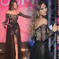 Long Black Evening Dresses, Boat Neck Prom Dress,Long Sleeves A-Line Lace Dress