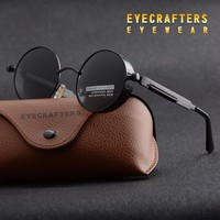 Eyecrafters Round Metal Polarized Sunglasses Gothic Steampunk Sunglasses Mens Womens Fashion Retro Vintage Shield Eyewear Shades