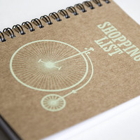 Shopping list, grocery list, grocery note pad, kraft paper notebook, pocket notebook, blank book, writing notepad, old bike green