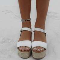 Runaways White Espadrille Platform Wedge