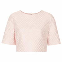 Textured Bubble Crepe Tee - Pale Pink