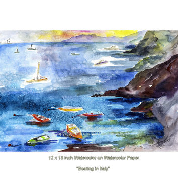 Boating in Italy - Cinque Terre - ORIGINAL Watercolor by Ginette Callaway