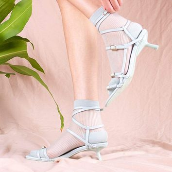 Mori Sheer Striped Sock | Mint Green