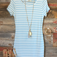 On the Horizon Tunic Dress: Ice Blue