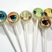 Anime eyes ball style edible image lollipops - 6 pc. - MADE TO ORDER