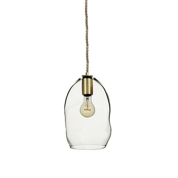Clear Bubble Hand Blown Glass Pendant Light- Brass & Ship Rope