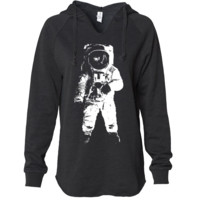 Space Astronaut Man on The Moon White Print Women's Soft Hooded Pullover