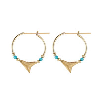 Aurélie Bidermann Fine Jewelry - Shark 18kt Yellow Gold Earrings with Turquoise