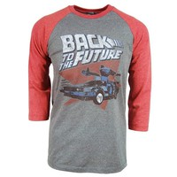 Back To The Future Red and Blue Adult Soft Raglan T-Shirt M