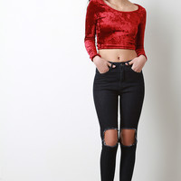 Cut Out Knee Frayed Skinny Jeans