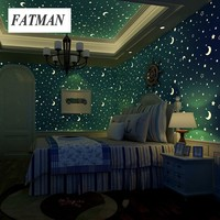 FATMAN Sky Star Moon Luminous Pattern Wallpaper Ceiling Glow Effect Decor Wall Paper Kids Room Living room  Bedroom Wallpaper