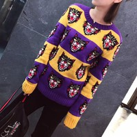 """Gucci"" Women Casual Fashion Multicolor Stripe Cat Head Pattern Long Sleeve Knitwear Sweater Tops"