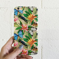 """Clear Plastic Case Cover for iPhone 6 (4.7"""") Tropical Butterfly"""