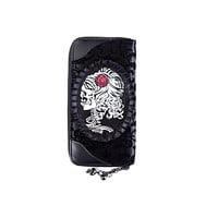 Flocked Cameo Skull Lady Rose Gothic Zip Around Black Wallet