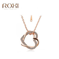 ROXI Brand Jewelry Double Heart Pendants Crystal Necklace Gold-plated/Silver Chain Contemporary Inlay Necklace Women 2030025425