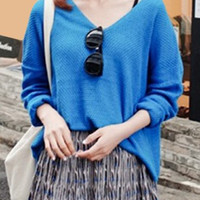 Blue V-Neck Long Sleeve Knitted Sweater