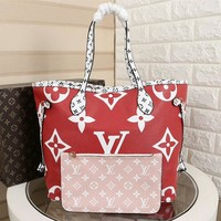 DCCK2 1006 Louis Vuitton LV Neverfull Shopping Bag Daier Azur Canvas Handbag 32-29-17cm White Red