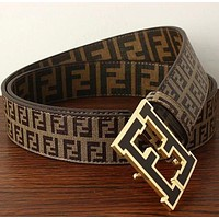 FENDI Woman Men Fashion Smooth Buckle Belt Leather Belt-6
