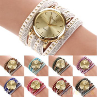Women's Geneva Faux Suede Rivets Rhinestone Multi-Layer Wrap Bracelet Analog Wrist Watch