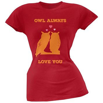 Valentine's Day - Paws - Owl Always Love You Red Soft Juniors T-Shirt