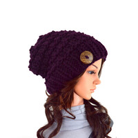 Knit Chunky Slouchy Buttoned Hat Beanie Toque // The Barletta // in Eggplant