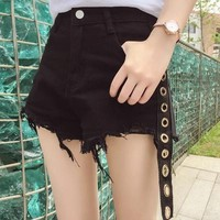 All-match Fashion Drawstring Edge High Waist Denim Shorts Hot Pants Jeans