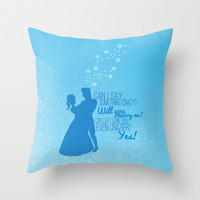 frozen, will you marry me.. anna and hanz Throw Pillow by studiomarshallarts