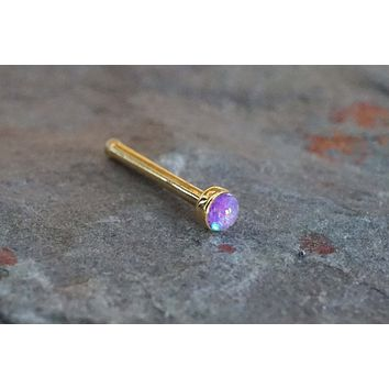 Purple Opal Gold Nose Bone Gold Nose Stud Nose Ring