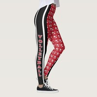 Dark Red, White and Black Volleyball Pattern Leggings