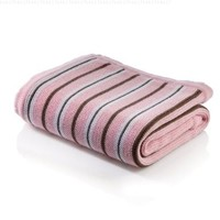 Elegant Baby Cotton Striped Blanket with Scalloped Edge - Pink/Chocolate/White