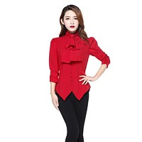 Gothic Victorian Steampunk Red Ruffle Tie Neck Ruched Sleeve Blouse