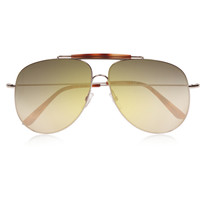 Valentino - Aviator-style gold-tone and acetate sunglasses