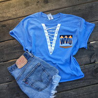Periwinkle tribal wvu lace up shirt