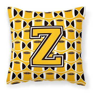 Letter Z Football Black, Old Gold and White Fabric Decorative Pillow CJ1080-ZPW1414