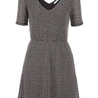 Knit Dress With Textured Fabric - Black