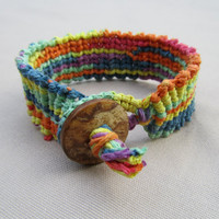 Psychedelic Hemp Cuff - Knotted Macrame Bracelet - Hippie Natural Rainbow